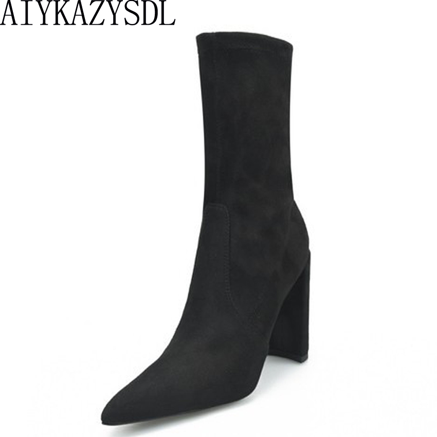 AIYKAZYSDL 2018 Sexy Autumn Winter Women Sock Boots Stretch Faux Suede Ankle Boots Thick High Heels Bootie Shoes Plus Size 34-42 spring autumn winter platform high heels ankle boots women short boots ladies shoes botas botte femme plus size 34 40 41 42 43