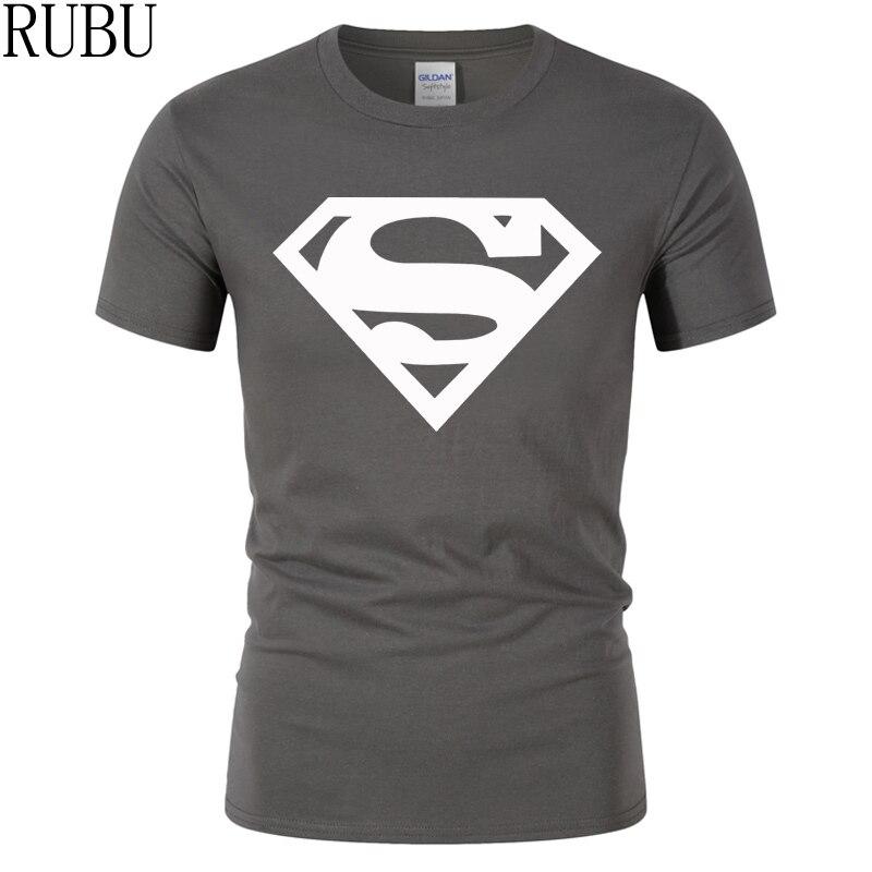 RUBU 2017 Cotton tee shirt short sleeve mens t-shirt print casual men tshirt superman print men t shirt Fitness Cosplay Costume