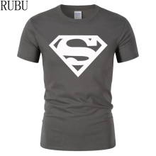 RUBU 2017 Cotton tee shirt short sleeve mens t-shirt print casual men tshirt superman print men t shirt Fitness Cosplay Costume