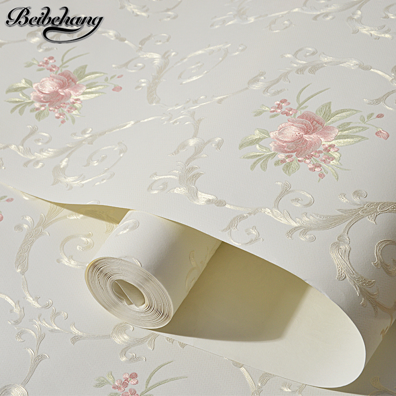 beibehang Stereo 3d nonwoven fabric wallpaper warm bedroom living room full of European style pastoral flowers wallpaper behangbeibehang Stereo 3d nonwoven fabric wallpaper warm bedroom living room full of European style pastoral flowers wallpaper behang