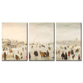 Hendrick Avercamp 3 Panel World Famous Painting Reproduction on Canvas Wall Art - A Scene on The Ice Drop shipping
