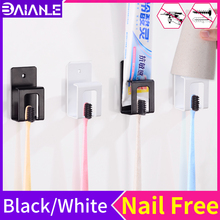 Toothbrush Holder Black Wall Mounted Suction Hook Manual Electric Tooth Brush Organizer Cup Storage Rack Bathroom Accessories