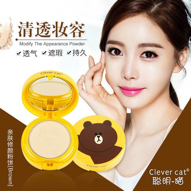 Cartoon Face Base Pressed Powder Matte Concealer Contour Palette Whitening Oil Control Foundation Powder 2