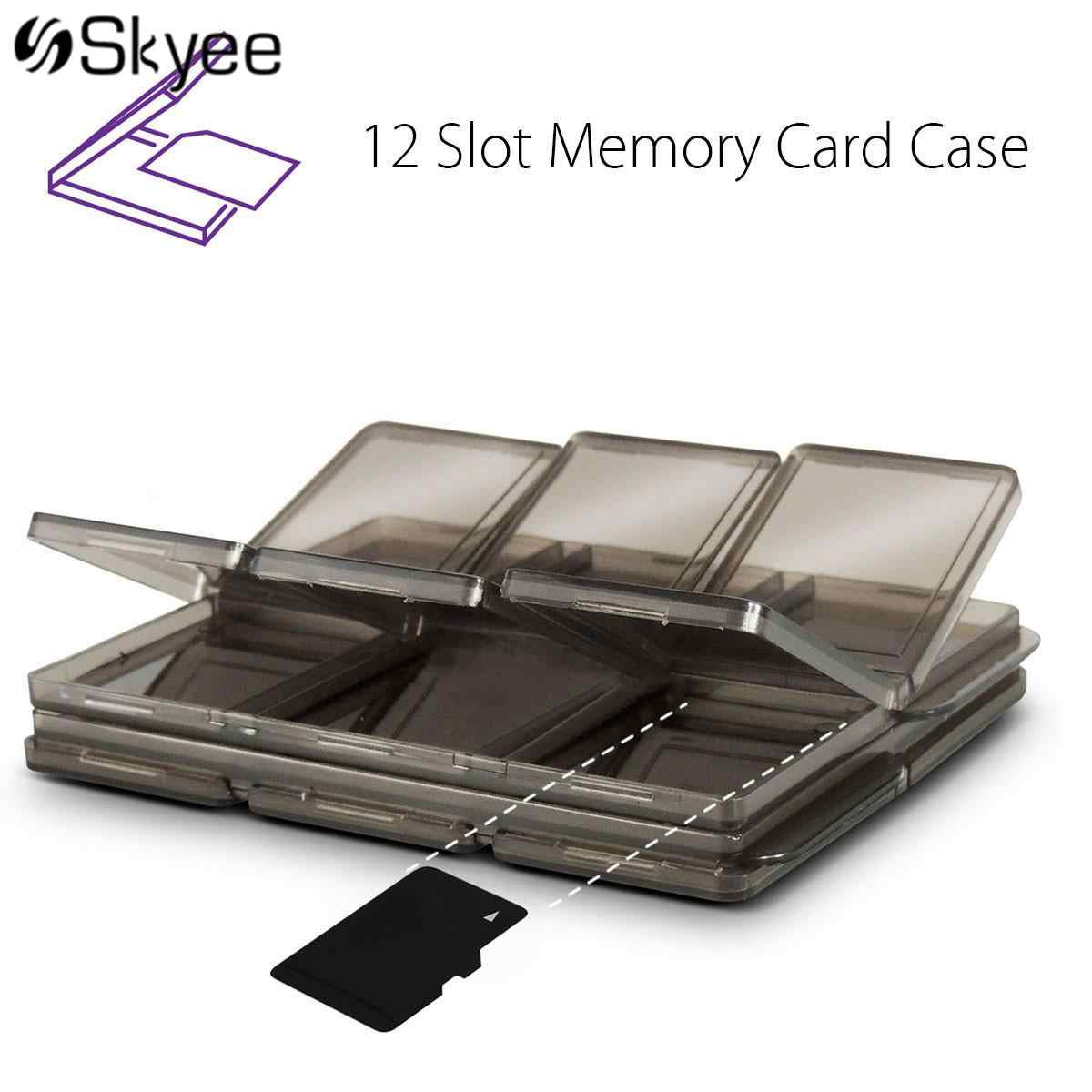 S SKYEE Foldable Coffee Memory Cards Case SIM/Micro SD/TF/XD Cards Storage Case Box Holder 12 Slots 2-Layers Design
