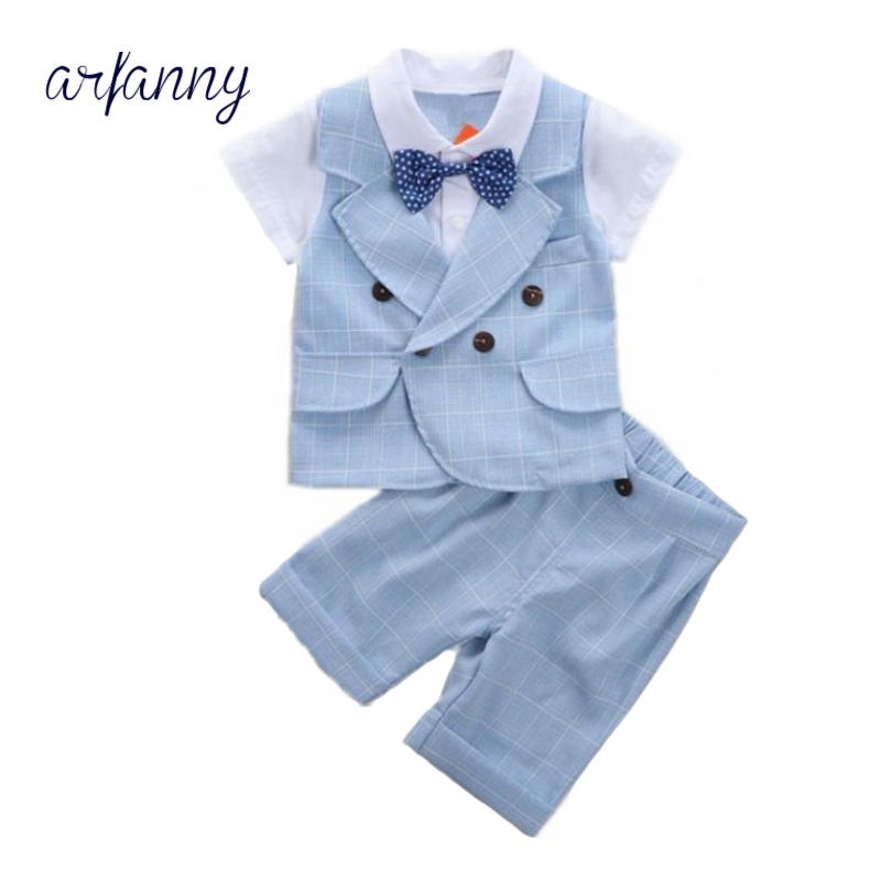 ARFANNY Baby Boys Clothes Summer Kids British Wind Birthday Dress Boy gentleman suit Childrens clothing blue blazer pants suits