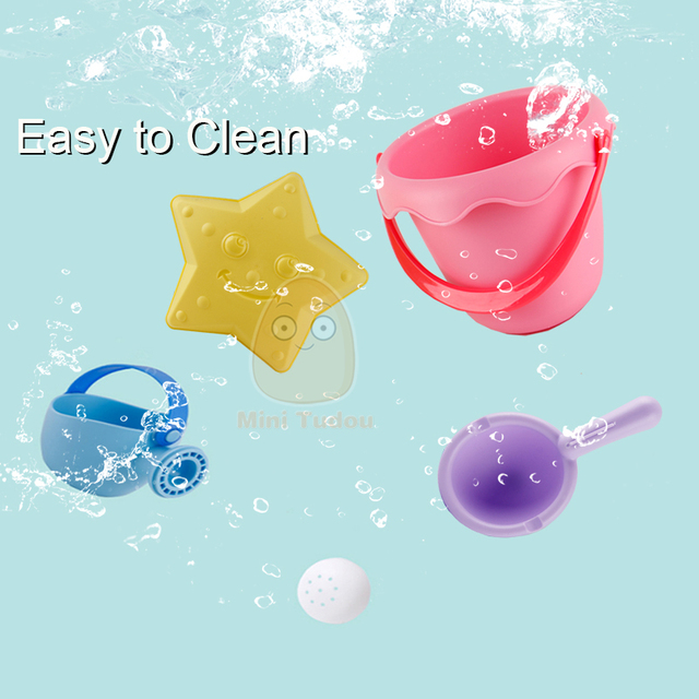 Summer Silicone Soft Baby Beach Toys Kids Mesh Bag Bath Play Set Beach Party Cart Ducks Bucket Sand Molds Tool Water Game 6