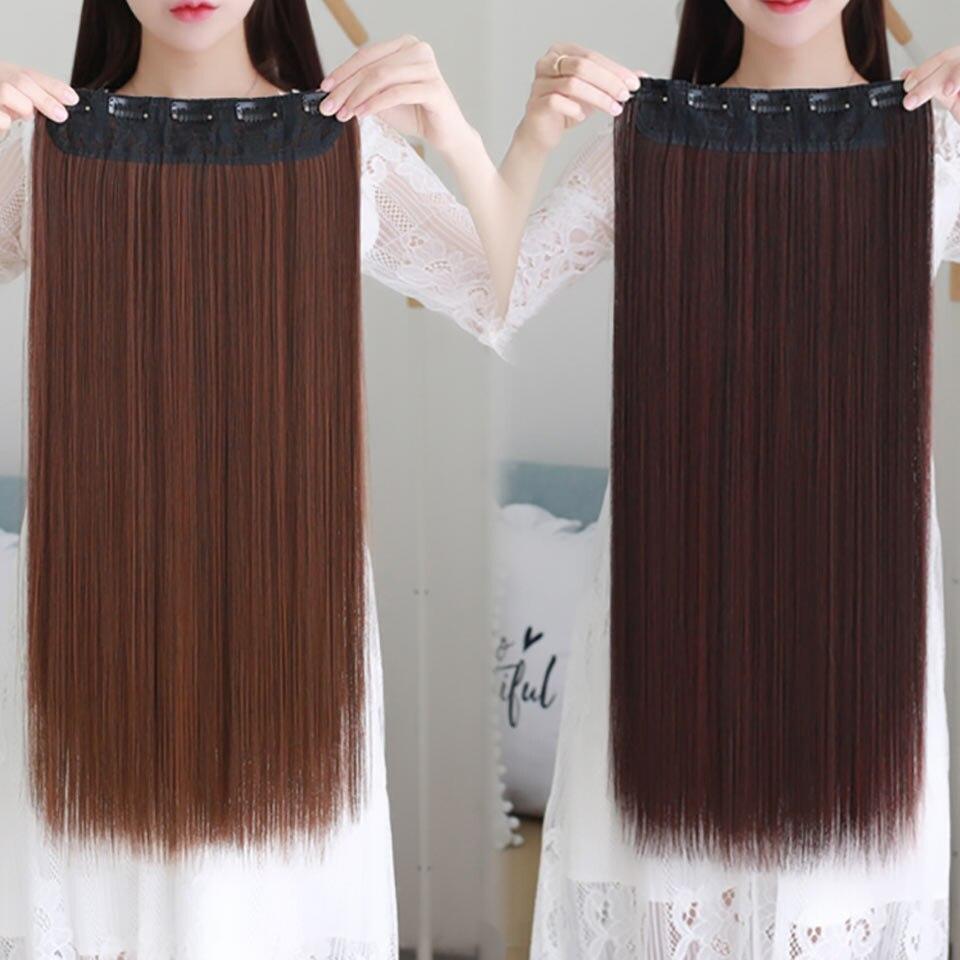 AOSIWIG 5 Clip Long Straight Naturliga Hårförlängningar High - Syntetiskt hår - Foto 5