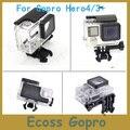 Para gopro habitação waterproof case para gopro hero 4/3 + padrão debaixo d' água caixa de proteção à prova d' água w/lens para gopro acessórios