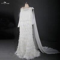Rsw881 Съемная Ватто Поезд Кот шифон и страуса Перо свадебное платье