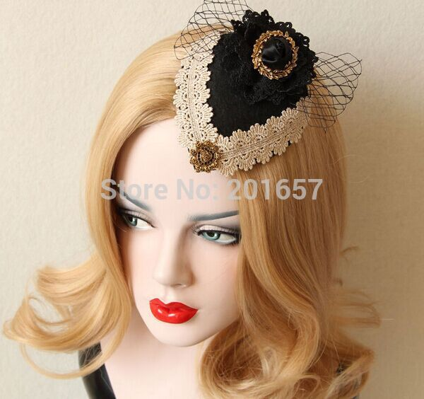 36b49e7db US $5.6 20% OFF|NEW Wholesale fashion velvet lace top hat vintage hat  fascinator burlesque clips party church bridal hairclips mix design-in Hair  ...