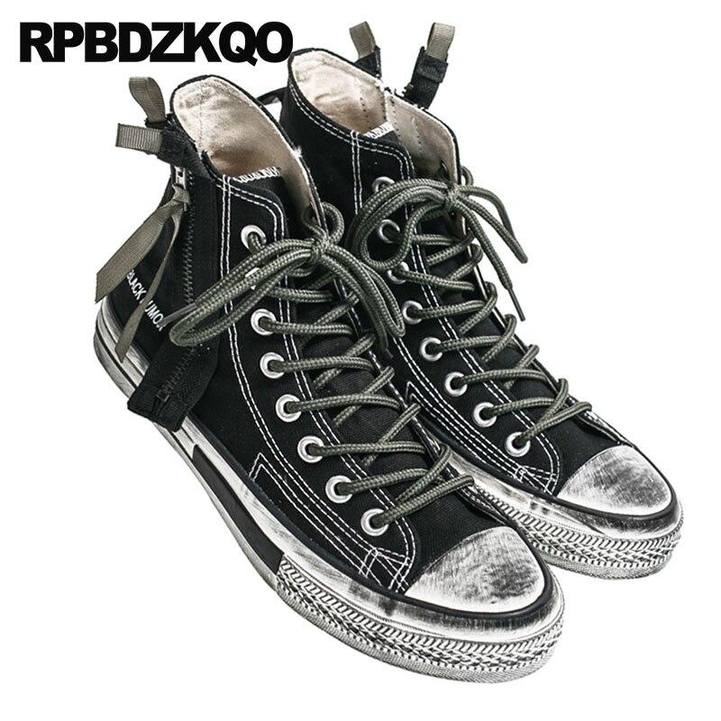 deac4c70a1 2018 Até Queda Do Tornozelo Lona Vintage Pé High Redondo Homens Zíper Top  Barata Preto Dos Sneakers Botas De Dedo Rendas Sapatos ...