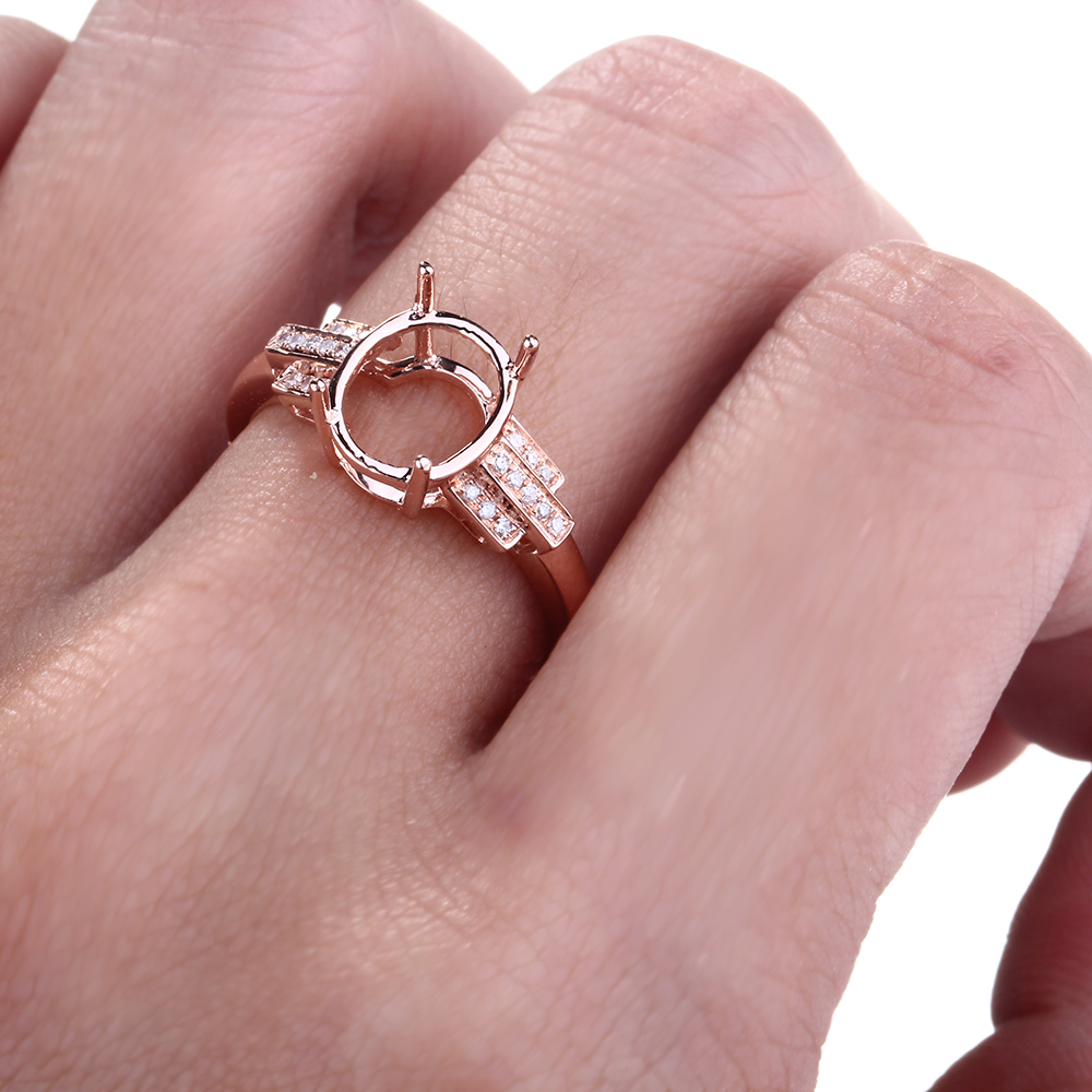 HELON Speciale Ontwerp Oval Cut 10x8mm Solid 10K Rose Gold Pave Natuurlijke Diamant Fijne Sieraden Engagement bruiloft Semi Montage Ring - 5