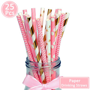 Image 2 - 25pcs Paper Drinking Straws Happy Birthday Decoration First Birthday Baby Boy Girl Party Just Married Supplies 1st One Year