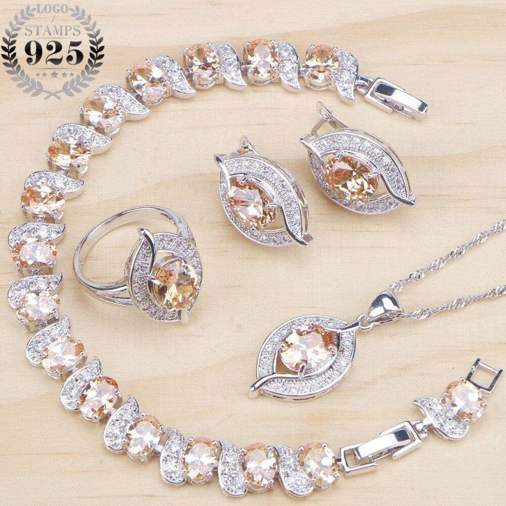 Necklace Earrings Stone-Set 925-Jewelry-Sets Bridal Silver Cubic-Zirconia Bracelet Women