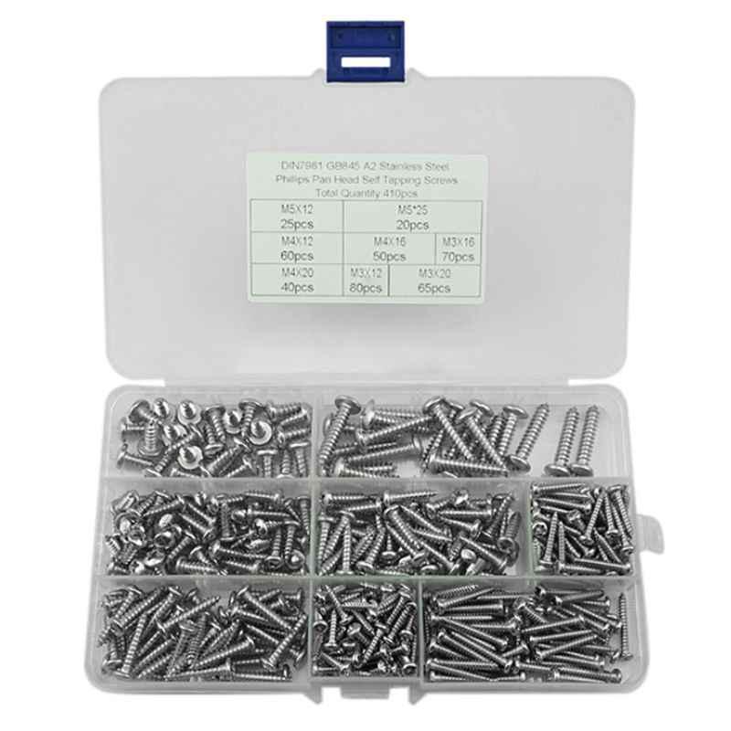 Kit de tornillos autorroscantes de 180 piezas M3 M4 M5 M6 Juego de surtido de tornillos autorroscantes de cabeza plana de acero inoxidable de alta dureza para prop/ósitos m/últiples