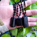 3pcs Natural black tourmaline ore energy chakra pendant Gems stone Crystal Healing Christmmas gift steering Black tourmaline