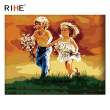 RIHE Girl And Boy Oil Painting By Numbers Dusk Grassland Cuadros Decoracion Acrylic Paint On Canvas For Artwork Modern Home Art