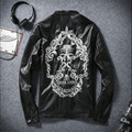 2016 Man Leather Jackets Skulls Embroidery Male Pu Leather Jackets Stand Collar Slim Fit Fashion Jackets For Men A2549