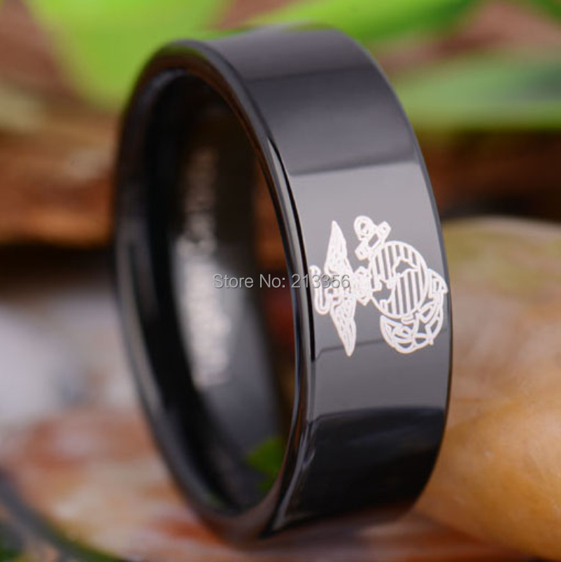 usa hot sales ec tungsten luxury jewelry 8mm military army marines ring black pipe mens tungsten wedding ring in rings from jewelry accessories on - Military Wedding Rings