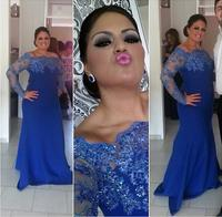 Off Shoulder Mother of the Bride Dresses Royal Blue Beading Long Sleeve Mermaid Evening Gowns Lace Appliques Beaded Plus Size