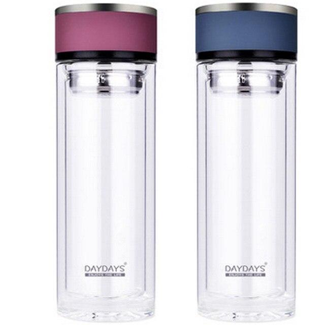daydays marque double paroi thermos de verre transparent th tasses 300 ml cristal bouteille deau en verre avec boule thusd 2550piece - Glass Thermos