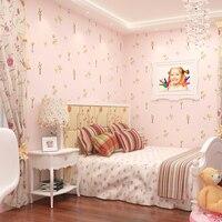 Children's Room Non woven Fabric Wallpaper 3d Relief Papel De Parede Infant Bedroom Living Room Green Pink Small Tree Wallpaper