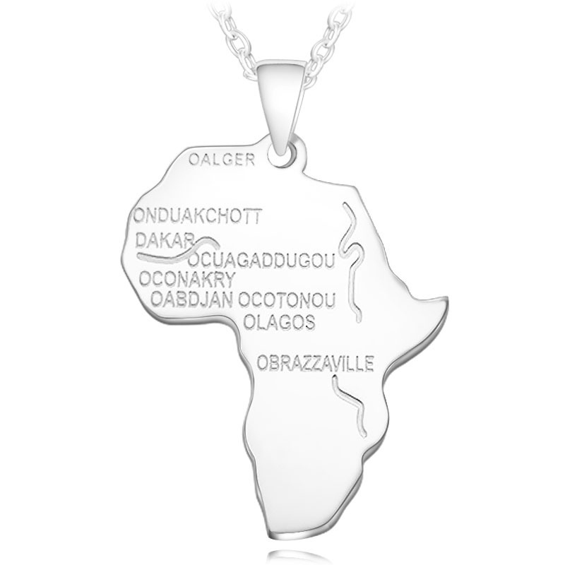 4 цвета Модная Африканская Карта Форма кулон ожерелье Женская мода ювелирные изделия персонализированный сплав металлическая серебряная с золотом цепь ожерелье s - Окраска металла: N026-2