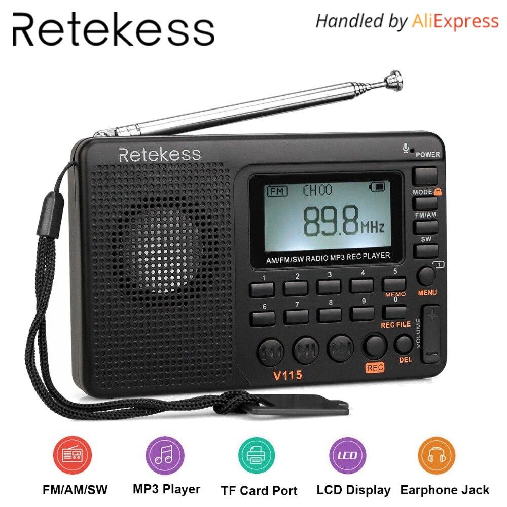 RETEKESS V115 Ricevitore Radio FM AM SW Radio Portatile Tasca Con USB MP3 Registratore Digitale Di Sostegno Micro TF Carta Di DEVIAZIONE STANDARD Timer Di Spegnimento