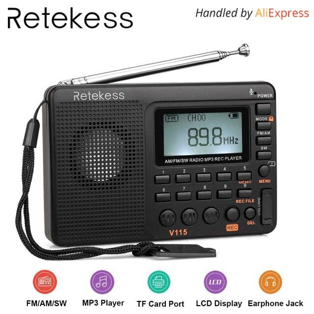 Tivdio V-115 FM/AM/SW Радио приемник басов MP3-плееры rec Регистраторы Портативный Радио с таймер сна f9205a