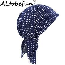 ALTOBEFUN Lady Rural Caps Girl Dots Women Bandanas Hip-hop Stretchy Turban Cap Female Headwear Chemo Hat Polyester BD008