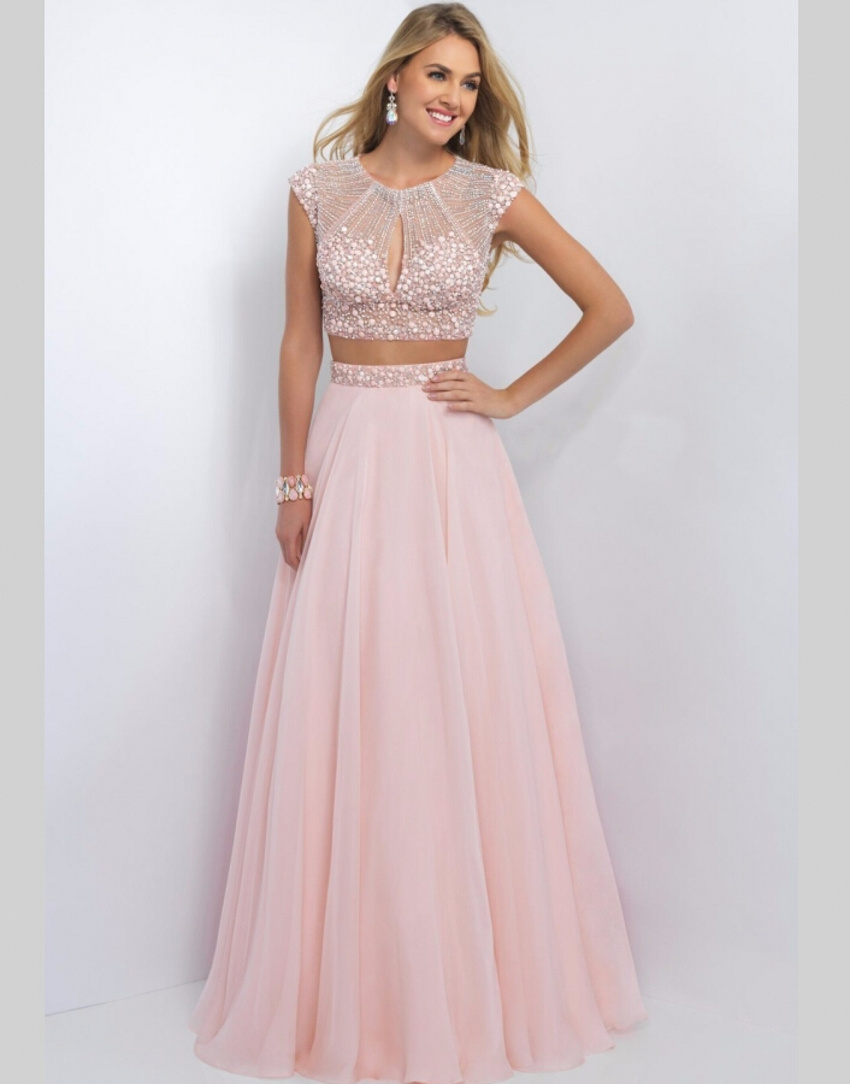 2 Two Pieces Blush Prom Dresses For 2017 Crystal Stone Hand Beading Tulle A Line See Through Back Party Gown In From Weddings Events On