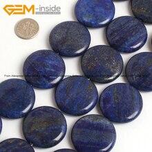 Coin Lapislázuli (Color Teñido) Bolas de Piedra Para La Joyería Que Hace 30mm 15 pulgadas Joyería de DIY FreeShipping Al Por Mayor Gem-inside