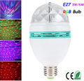 3W/6W E27 LED clear RGB stage light colorful bulb AC85-265V  Auto Rotating light  for KTV,Bar.Dancing hall