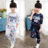 Girls Clothes 2016 Set Girl Autumn Long Sleeved Shirt And Track Pants Suit Kids Fashion Casual