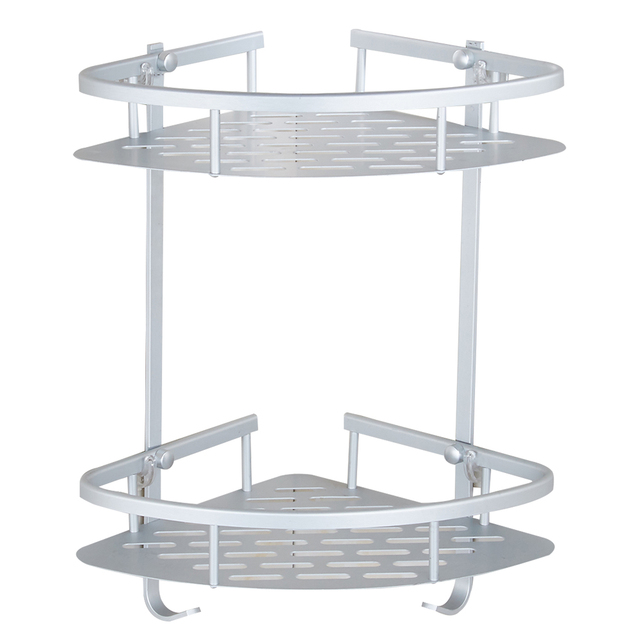 double layer aluminum corner holder kitchen wall rack with desk bathroom shelf unit spoke tank shelves - Bathroom Shelf Unit