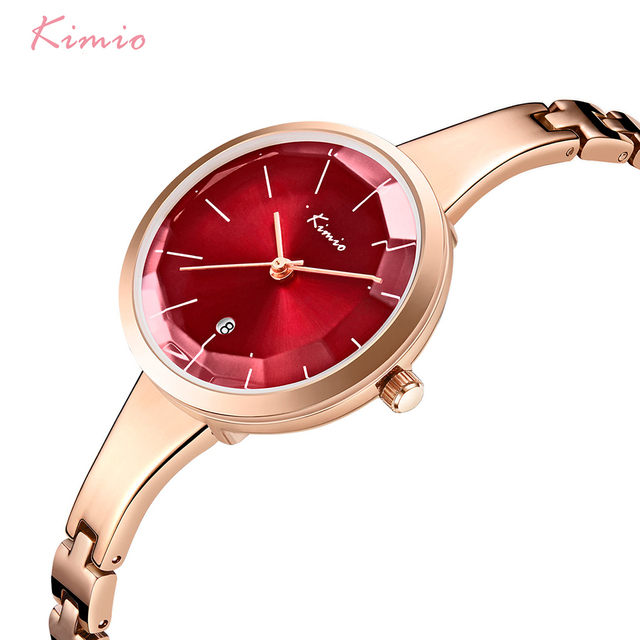 KIMIO Women Red Big Dial Waterproof Dress Watches Simple Ladies Rose Gold Color