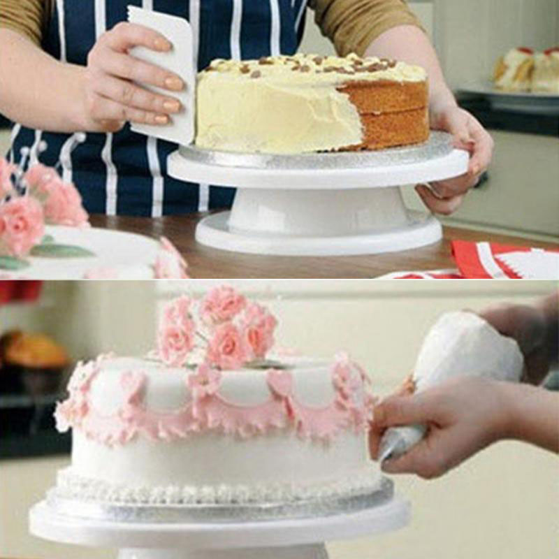 2017 PP Round Shape Cake Decoration Turntable Manually Rotating DIY Cake Mounting Pattern Tool J2Y