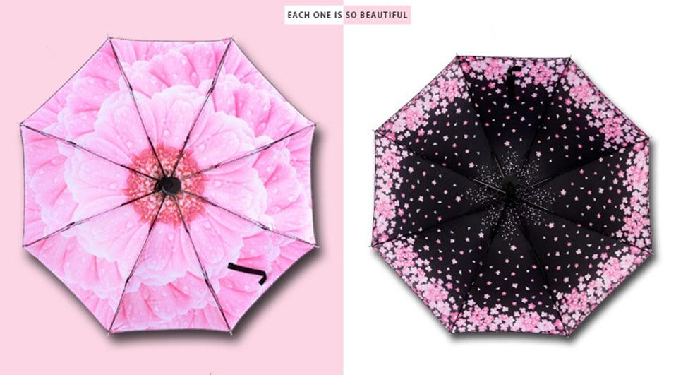 Adults Folding Umbrella For Women One Size Umbrellas Women Folding Umbrella Anti-Uv Automatic Umbrella Rain Women Flowers        (1)