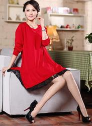 loose plus size clothing knitted one-piece dress medium-long maternity lace wool basic shirt 2