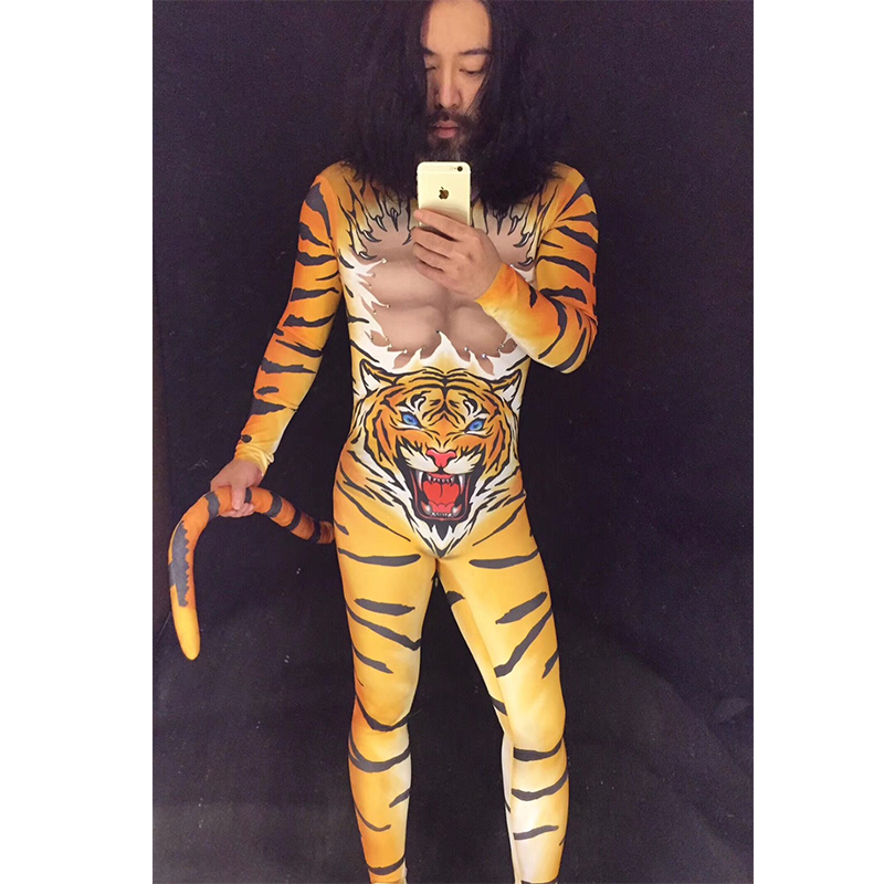 New Sexy Stage Costumes for Men Fashion Tiger Pattern Nightclub Club Party Mens Dj Ds Jumpsuit Bodysuit Costumes