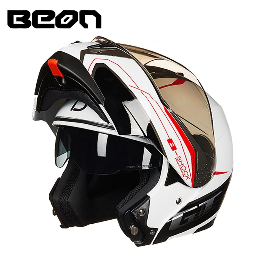BEON Moto Casque Casco Moto Filp Up Moto Capacete Double Visor Plein Visage motocross course Casque