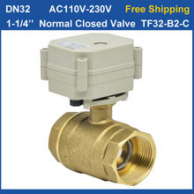 "Free Shipping! DN32 AC110V-230V 2wires Normal Closed Motorized Valve TF32-B2-C BSP/NPT 1-1/4"" 29mm bore"