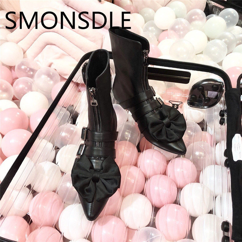 SMONSDLE New Fashion Pink Genuine Leather Women Ankle Boots Pointed Toe Buckle Front Zip Women Autumn Winter Boots Shoes Woman smonsdle new genuine leather white women ankle boots round toe buckle back zip chunky heel women autumn winter boots shoes woman