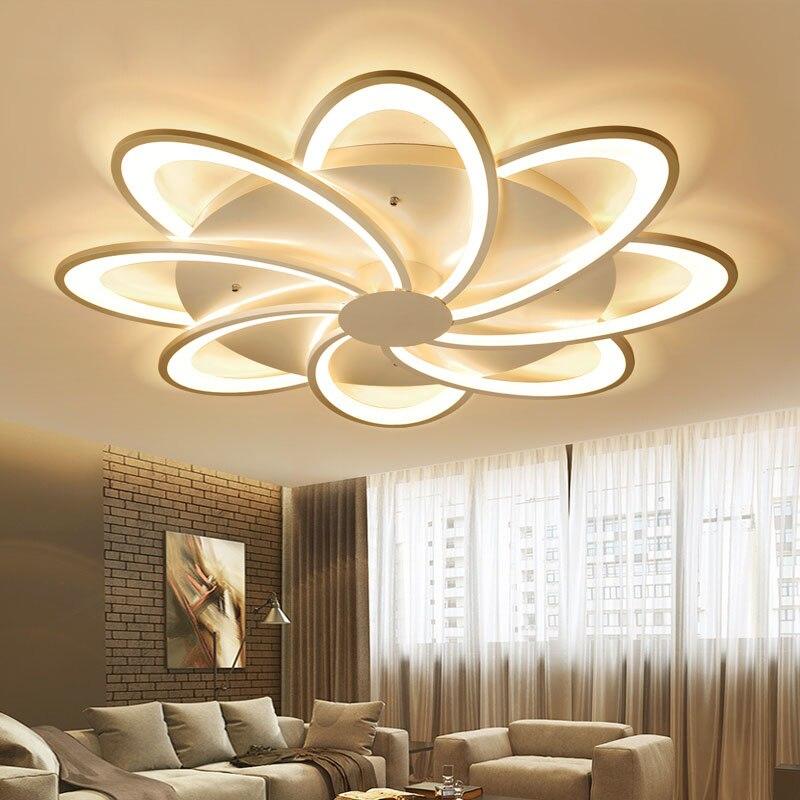 Moderne LED lumières lustre au plafond pour salon chambre Salle À Manger Salle D'étude Blanc AC85-265V Lustres Luminaires