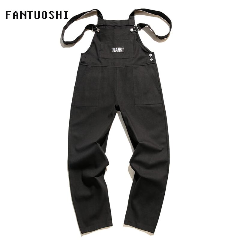 Men's Pants street casual jumpsuit Slim Casual washed Cotton Straight Pants High Quality men pants suspenders plus size XXL