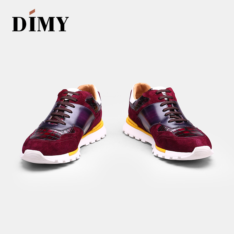 DIMY handmade custom men 39 s leather shoes dress casual shoes fashion England wind casual shoes hand painted crocodile shoes in Men 39 s Casual Shoes from Shoes