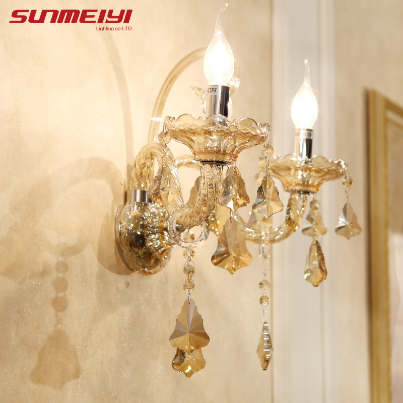 American Beside Lamps Crystal Double Head Candle Wall Lamp Restaurant aisle Bedroom Lamps Indoor Modern Lights