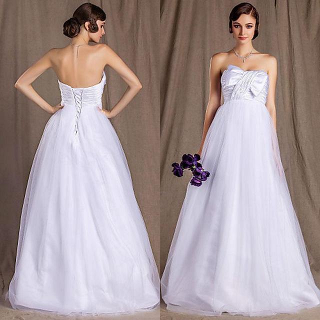 Plus Size Maternity Wedding Dresses Bow Pleat Floor Length A Line