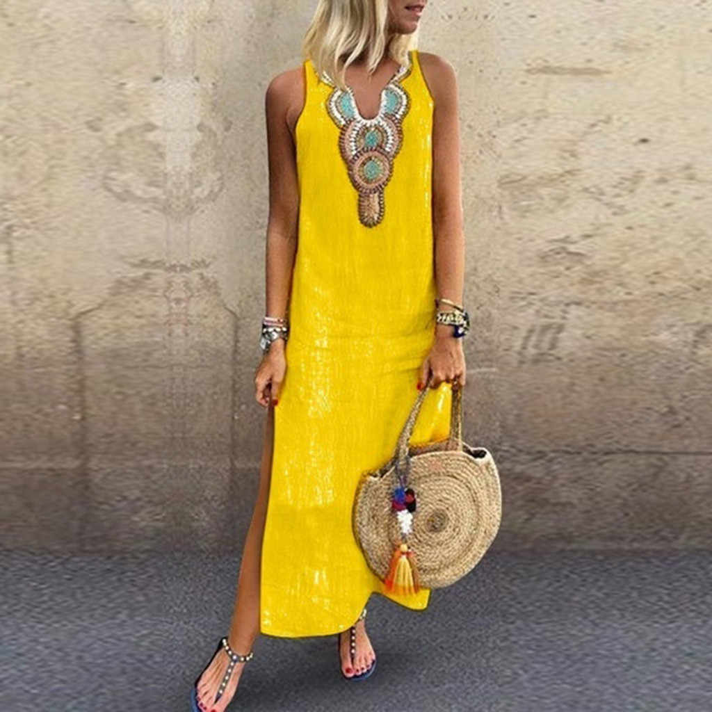 2019 New Summer Women Dress Linen Embroidery Printed Sleeveless V-neck Maxi Split Hem Baggy Kaftan Long Sundress