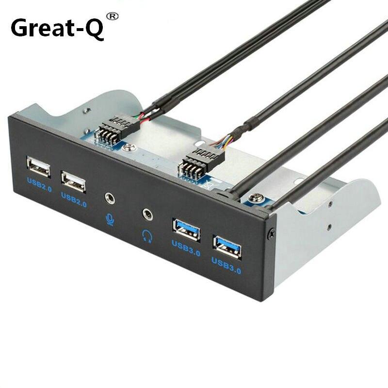 Grand-Q USB3.0 lecteur peu panneau 2 * USB3.0 + 2 * USB2.0 + HD audio 3.5mm Écouteur jack USB HUB